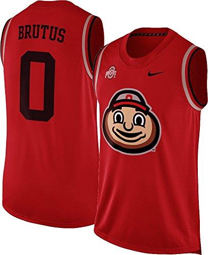 Nike Ohio State Buckeyes Brutus Mascot Basketball Jersey Tank Top Sleeveless Shirt (Red, Large)