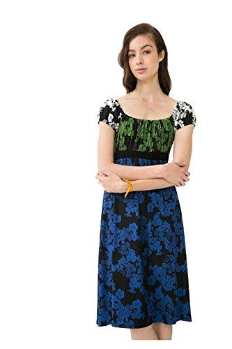 2000 Lauri und Kleid mit Desigual Blumen Blau Schwarz 69V20A0 in wUxPzR