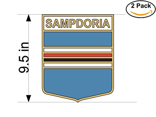 CanvasByLam Sampdoria Genoa Italy Soccer Football Club FC 2 Stickers Car Bumper Window Sticker Decal Huge 9.5 inches by CanvasByLam