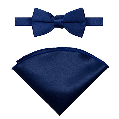 - Spring Notion Boys' Satin Bow Tie and Handkerchief Set X-Large Navy Blue