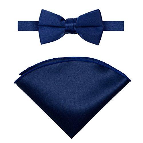 Spring Notion Boys' Satin Bow Tie and Handkerchief Set Medium Navy Blue (Toddler Blue Tuxedo)