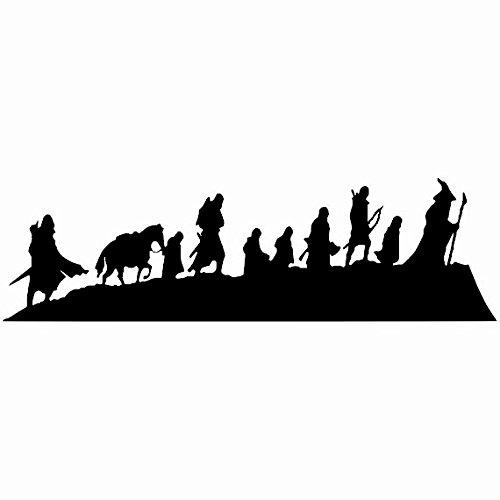 (Fellowship Lord Of The Rings Black Decal Vinyl Sticker|Cars Trucks Vans Walls Laptop| Black |7.5 x 2.5 in|LLI548)