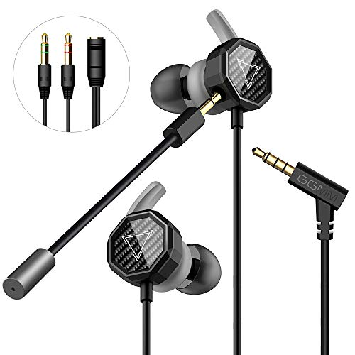 Gaming Earbuds, GGMM Stereo in-Ear Gaming Earphones with Detachable Dual Mic Volume Control Wired Headphones with 3.5mm Jack for Mobile Gaming