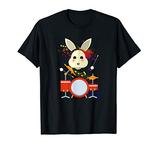 - Funny Rabbit Playing the Drums Band Music T-Shirt