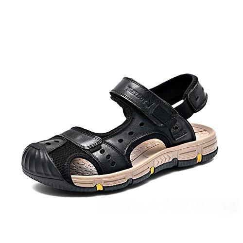 Sandali Velcro Baotou Sandali Tallone sul Black in Sandali Traspiranti Elasticizzate Chiusura Antiscivolo Ciabatte con da in Traspirante Uomo Pelle E Esterni ZHqwHxr6d