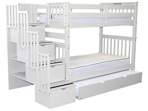Bedz King Tall Stairway Bunk Beds Twin over Twin with 4 Drawers in the Steps and a Twin Trundle, White (Trundle Bed King)