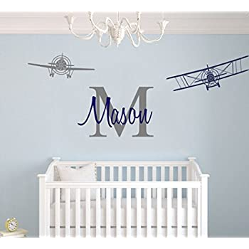 Custom Name u0026 Initial With Cute Airplanes - Aeronautical Series - Baby Boy - Wall Decal Nursery For Home Bedroom Children (AM) (Wide 30  x 12  Height)  sc 1 st  Amazon.com & Amazon.com: Custom Airplane Name Wall Decal - Boys Kids Room Decor ...