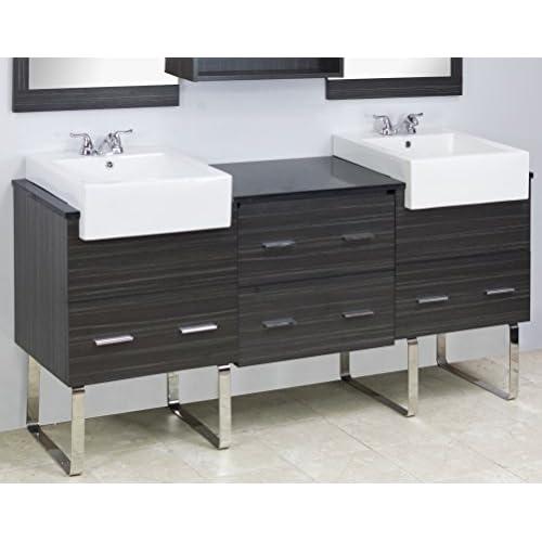 """low-cost Jade Bath JB-1557 72"""" W x 20"""" D Plywood-Melamine Vanity Set, Dawn Grey"""