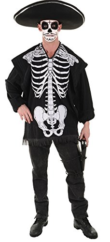 Costumes Dead Clown (UHC Men's Mexico Skeleton Serape Blanet Day Of The Dead Halloween Costume,)