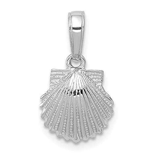 - 14k White Gold Scallop Sea Shell Mermaid Nautical Jewelry Pendant Charm Necklace Shore Fine Jewelry Gifts For Women For Her