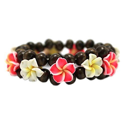 Hawaii FIMO Vibrant Stretch Wood Bead Plumeria CZ Luau Bracelet in White and - Plumeria Bracelet Hawaiian