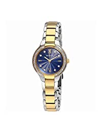 Bulova Women's 28mm Gold Tone Steel Bracelet Quartz Blue Dial Analog Watch 98R223