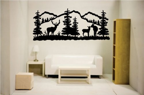 Newclew Elk Deer Nature Mountain Hunting Removable Vinyl Wall Quote Decal Home Décor (22'' x 52'', Black) (Decals Wall Hunting)