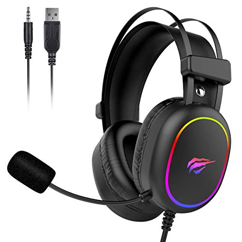 havit RGB Gaming Headset for PS4 XBOX One, Nintendo Switch, 3D Bass Surround Sound, with Noise-Cancelling Mic. & Volume Control, H2016d