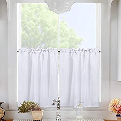 IdealHouse Waffle Woven Textured Kitchen Tiers Curtains