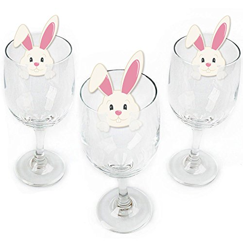 Hippity Hoppity - Shaped Easter Bunny Party Wine Glass Markers - Set of 24 ()