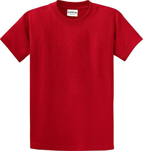 100% Cotton Heavyweight Tee (Clothe Co. Mens Big & Tall Heavyweight 100% Cotton Short Sleeve T-Shirt, Red, 3XLT)