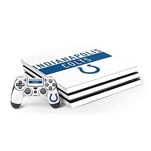 Skinit NFL Indianapolis Colts PS4 Pro Bundle Skin - Indianapolis Colts White Performance Series Design - Ultra Thin, Lightweight Vinyl Decal Protection