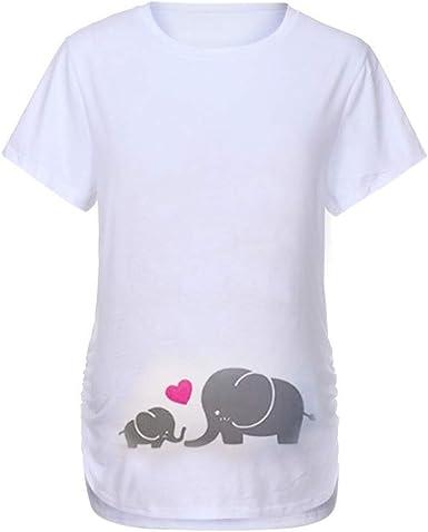 Mitlfuny Ropa premamá Tops Mujeres Embarazadas Maternidad Dibujos Animados Bebe Elefante Estampado Camisa Lactancia Camiseta Verano Enfermería Embarazada Manga Corta Plisada Grande Embarazo Blusa: Amazon.es: Ropa y accesorios