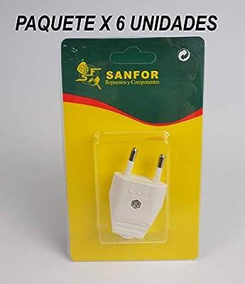 Desmontable 6 Amperios R-123 Paquete 6 unidades Sanfor 70288 Bl/íster Clavija M Blanca