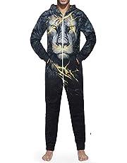 Morbuy Men's 3D Print Onesie Hoodie, Adult Jumpsuit Stylish Printed One Zip Playsuit Hooded Autumn Warm Pajama Plus Size Sleepwear