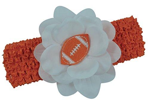 Baby Embroidered Felt Football Team Flower Headband Fits Newborns to Toddlers (Orange)]()