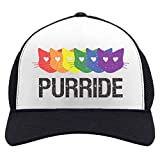 Purride Gay & Lesbian Pride Cat Lover Rainbow Flag Parade Trucker Hat Mesh Cap One Size Black/White