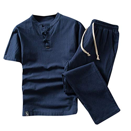 JustWin Summer Fashion Men's Solid Color Cotton and Linen Vintage Retro Short Sleeve Shorts Set Suit Tracksuit Blue from JustWin