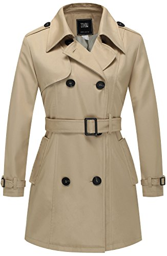 Belted Fully Lined Trench Coat - ZSHOW Women's Double-Breasted Twill Belted Trench Coat US X-Small Khaki