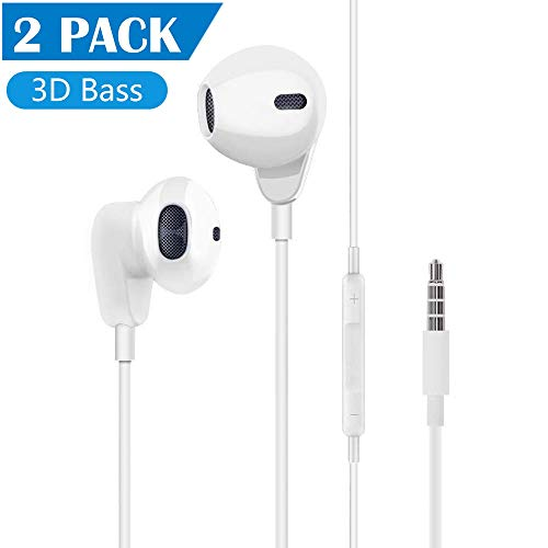 [2Pack] 3.5mm Headphones,Aux Earphones,Headphones with Microphone and Volume Control Compatible with Phone 6,pad…