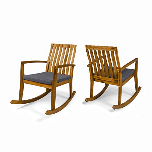 Colmena Outdoor Acacia Wood Rustic Style Rocking Chair with Cushions (Set of 2) – Teak and Dark Gray Finish