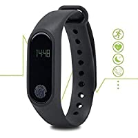 Supreno M2 Plastic and Metal Bluetooth Smart Band with Fitness Tracker, Heart Rate Sensor and Compatible with All Devices (Multicolour, M2.Band)
