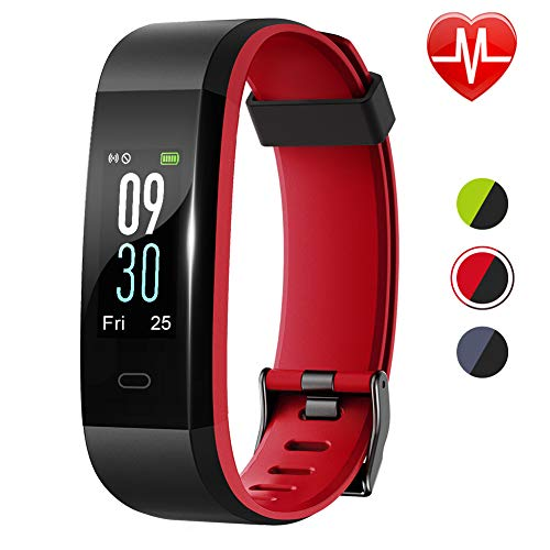Lintelek Fitness Tracker, Large Screen Activity Tracker with Heart Rate Monitor, Fitness Watch with Color Screen, Double Color Strap, Waterproof Pedometer with 14 Sports Modes for Men Women Kids