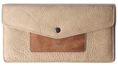 (Borgasets Women's Wallet Leather RFID Blocking Ultra-thin Envelope Ladies Purse Travel Clutch with ID Card Holder and Phone Pocket Vintage Apricot)