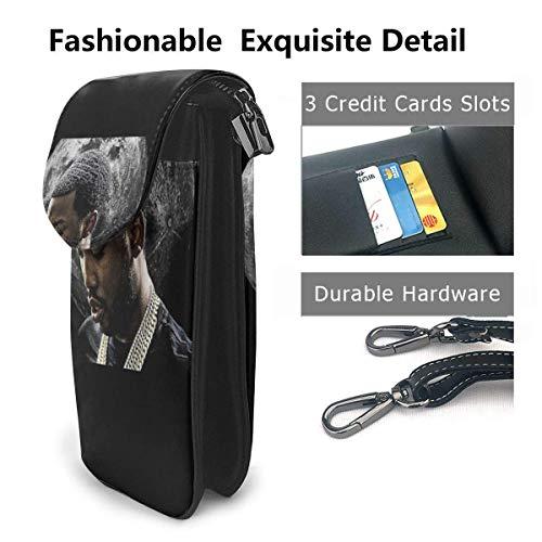 HYJUK Mobiltelefon crossbody väska Meek Mill liten crossbody mobiltelefon handväska PU mini messenger axelväska plånbok för kvinnor
