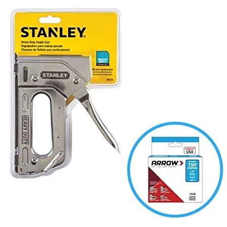 Stanley Tr110 Heavy Duty Steel Staple Gun 84 Staple Capacity, Squeeze Trigger And T50#504 Box Of Staples by Stanley