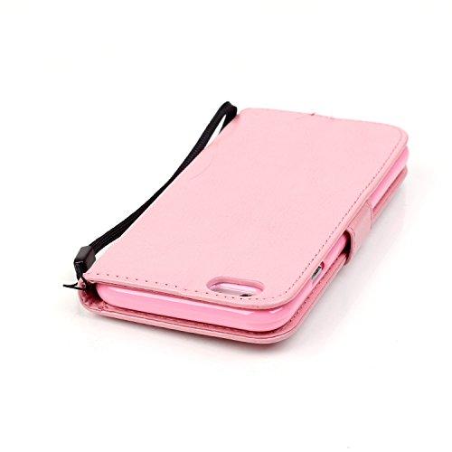 IPhone Case 7, Papillon Et Fleur Embossing Premium Housse En Cuir PU Housse Magnétique Portefeuille Stand Case Case Folio Avec Bling Diamant Résine Rhinestone Décor Pour IPhone 7 ( Color : Pink )