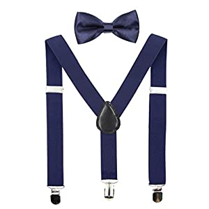 Hanerdun Kids Suspenders Bowtie Sets Adjustable Suspender Set for Boys and Girls
