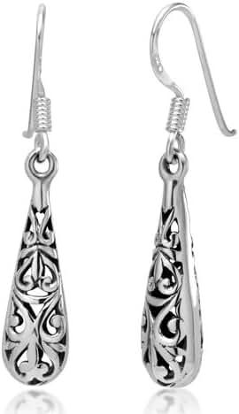 925 Oxidized Sterling Silver Bali Inspired Filigree Narrow Puffed Teardrop Dangle Hook Earrings
