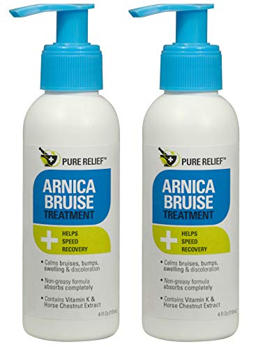 Pure Relief Arnica Bruise Lotion. Rapid Relief for Bruising, and Discoloration. Powerful Bruise Lotion with Soothing Ingredients- Aloe Vera, Collagen, and Gotu Kola. 4oz. Set of 2
