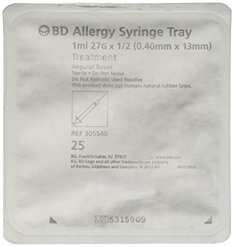BD Medical Systems 305540 Allergist Tray, Permanently Attached Needle, Regular Bevel, 27 Gauge x ½