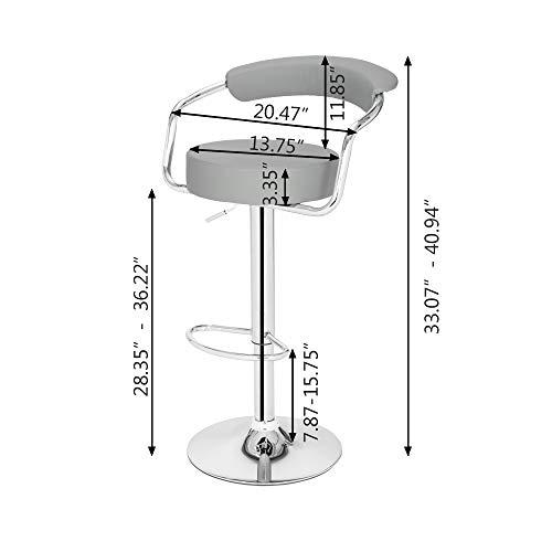 Takefuns 2-pack högkvalitativ rund ryggkudde barstol, justerbara barstolar, matstolar med rygg, modern vridbar barstol grå
