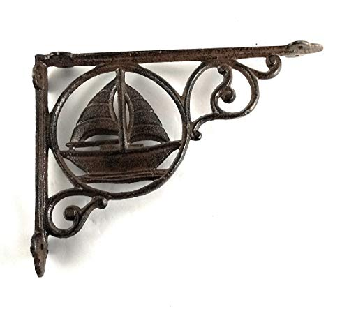 Aunt Chris' Products - Heavy Cast Iron - Sail Boat Shelf Bracket - Nautical Green - Rustic Color Finish With Gold Accents - All-Purpose - Indoor or Outdoor Use