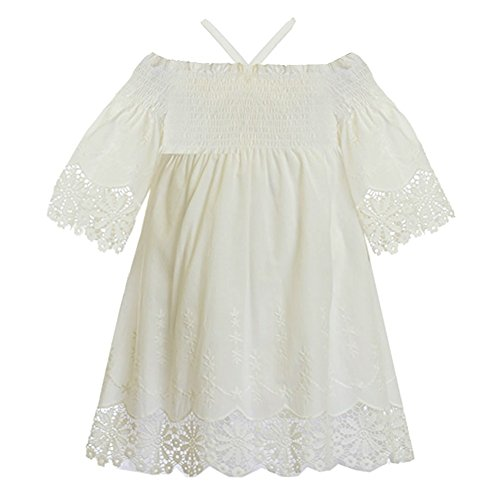 Biscotti Little Girls White Off-Shoulder Smocked Top Embroidered Dress 4