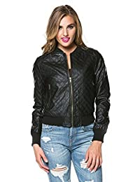 SOHO GLAM Quilted Faux Leather PU Bomber Jacket in Black