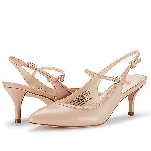 JENN ARDOR Mid Kitten Heels Stiletto Pumps Pointed Toe Slingback Dress Sandals Low Heels Ankle Strap Wedding Party Pumps (7, Pink)