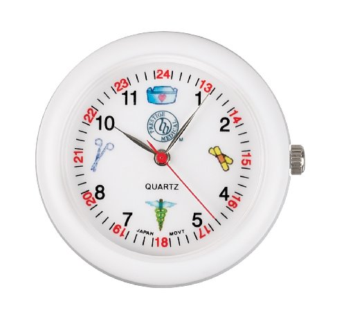 (Prestige Medical Analog Stethoscope Watch with Medical Symbols, White)