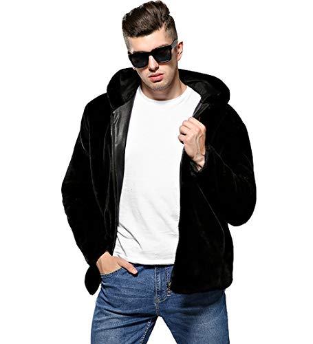 S&S-Men Fashion Solid Winter Warm Thick Outerwear Hooded Zipper Faux Mink Fur Coat