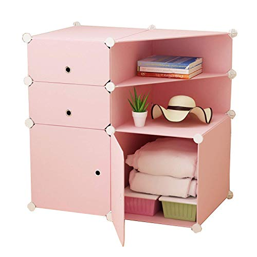 Jamohom Wardrobe Armoire Clothes Closet Bookcase Portable DIY Plastic Shelf Cabinet Cube Storage Organizer for Girls,(4 Cube Organizer) Pink by Jamohom