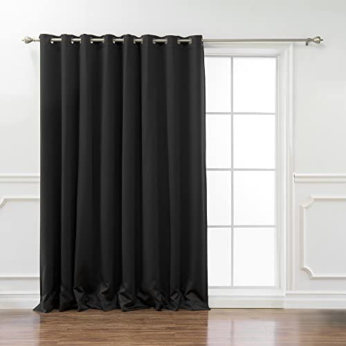 Best Home Fashion Wide Width Thermal Insulated Blackout Curtain – Antique Bronze Grommet Top – Black – 100 W x 108 L – 1 Panel